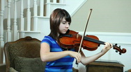 Stock Video Footage of dolly girl playing violin