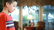 Boy playing marimba tilt Stock Footage