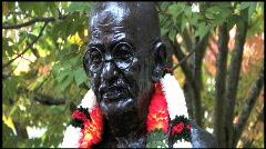 Mohandas Gandhi Statue CU 1 Stock Footage