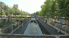 Train Moving on Rails in Paris Stock Footage