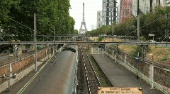 Train Moving on Rails in Paris - stock footage