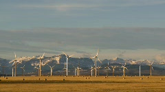 Wind turbines and mountains, early morning late fall, #5 Stock Footage