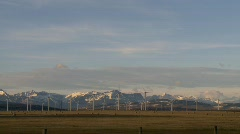 Wind turbines and mountains, early morning late fall, #7 Stock Footage