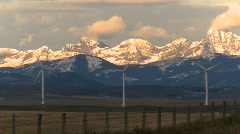 Wind turbines and mountains, early morning late fall, #10 Stock Footage