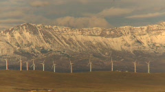 Wind turbines and mountains, early morning late fall, #3 Stock Footage