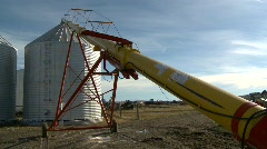 Agriculture, auger pipe and seed bin Stock Footage