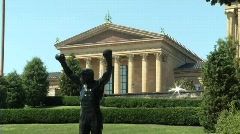 Rocky Statue and Philadelphia Art Museum Stock Footage