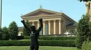 Rocky Statue and Philadelphia Art Museum Stock Footage