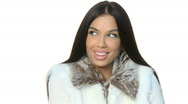 Portrait of beautiful woman wearing winter clothes Stock Footage
