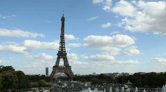 Eiffel Tower in Paris with Water Fountains Stock Footage