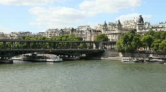 Boat Carrying Tourist on the River Seine in Paris Stock Footage