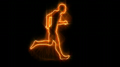 Silhouette running on flames Stock Footage