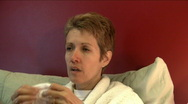 Sick woman from side Stock Footage