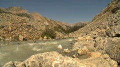 River and waterfall, mountain stream, headwaters of the Bow River,  Stock Footage