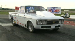 Motorsports, drag racing, burnout in the waterbox Chevy Luv pickup Stock Footage