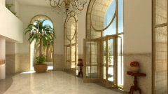 Fancy apartment building lobby - stock footage
