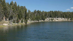 Yellowstone River from Fishing Bridge 2 P HD 2325 - stock footage