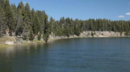 Yellowstone River from Fishing Bridge 2 P HD 2325 Stock Footage