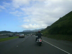 Motorcycle riding in Hawaii Stock Footage