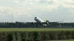 HD1080i Passenger Air Baltic airplane jetliner. Take off. - stock footage