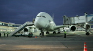 First visit of airbus A380 in Russia Stock Footage