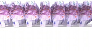 Stock Video Footage of Euro bills walking on white background. 3d rendering animation