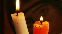 candle and Christian Orthodox icon - stock footage
