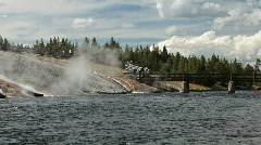 Yellowstone river bridge tourists P HD 3001 - stock footage