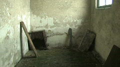 abandoned building inside, old oven in corner - stock footage
