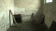 Abandoned building inside, old oven in corner Stock Footage