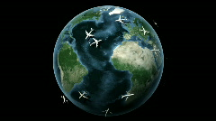 Planes around the earth Stock Footage