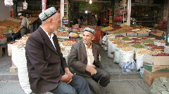 Kashgar bazaar local men Stock Footage