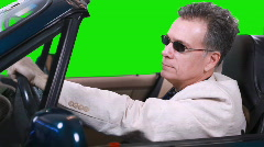Green screen driving talking on cell Stock Footage