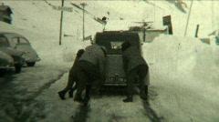 Citroen 2CV stuck on ice - Vintage 8mm film footage Stock Footage
