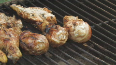 Bar-B-Q Chicken on the grill paning left clip 6 Stock Footage