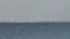 Stock Video Footage of Wind Turbines Near Beach And Sea