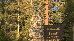 National Forest Sign at Mammoth Lakes, California Stock Footage