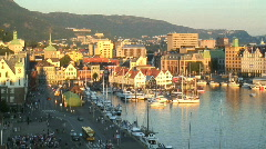 Harbour of Bergan,  Norway Stock Footage