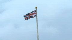 Union Jack Flag on top of Buckingham Palace, United Kingdom London Stock Footage