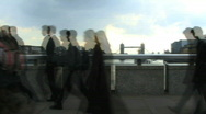 Time lapse of business people commuting London bridge Stock Footage