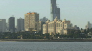 Zoom out on Marina drive Mumbai India Stock Footage
