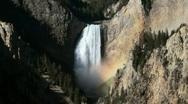 Yellowstone Lower Falls Rainbow Stock Footage