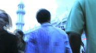 Low angle view on people walking over market Mumbai India Stock Footage