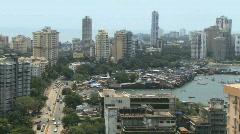 Pan over skyline mumbai business district - stock footage