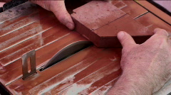 Saw Blade Cuts Bricks Stock Footage