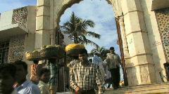 People in front of Haji Ali temple Mumbai India Stock Footage
