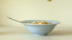 CU MUESLI IN BOWL - stock footage