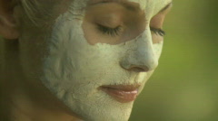 BCU OF A WOMAN WEARING A FACE MASK Stock Footage