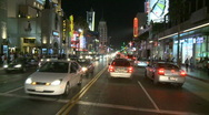 Stock Video Footage of Car Mounted Driving Camera Night Drive - Hollywood - Time Lapse