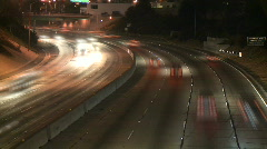 Time Lapse of the 101 Freeway at Night - Clip 1 - stock footage